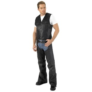 River Road Frontier Leather Vest (Color: Black / Size: 3XL) 141596