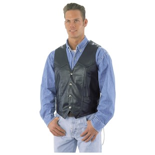 River Road Basic Leather Vest (Color: Black / Size: 44) 171711