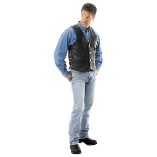 River Road Wyoming Nickel Leather Vest (Color: Black / Size: 2XL) 142078