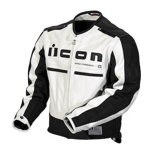Icon Motorhead Leather Jacket (Color: White/Black / Size: LG) 294071