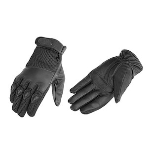 River Road Mystic Leather Mesh Gloves (Color: Black / Size: LG) 413385