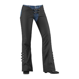Icon Women's Hella Leather Chaps (Size XL Only) (Color: Black / Size: XL) 530059