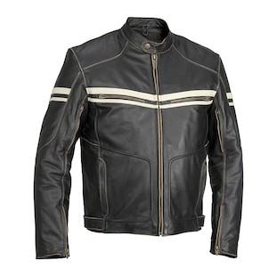 River Road Hoodlum Vintage Leather Jacket (Color: Black / Size: 48) 710213
