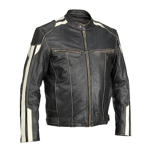 River Road Roadster Leather Jacket (Color: Black / Size: 48) 710205