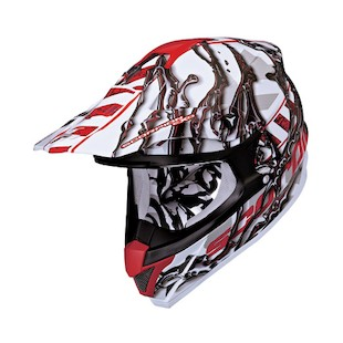 Scorpion VX-34 Oil Helmet (Color: White/Red / Size: MD) 783375