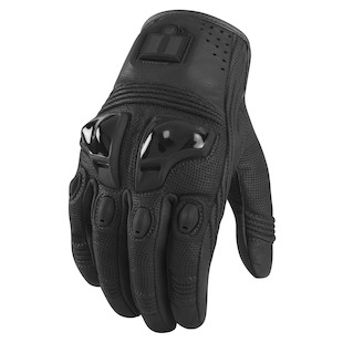 Icon Justice Leather Gloves (Color: Stealth Black / Size: 3XL) 800207