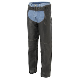 River Road Vintage Leather Chaps (Color: Black / Size: LG) 141647