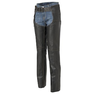 River Road Vintage Women's Leather Chaps (Color: Black / Size: 8) 141653