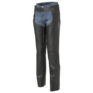 River Road Vintage Women's Leather Chaps (Color: Black / Size: 14) 141656