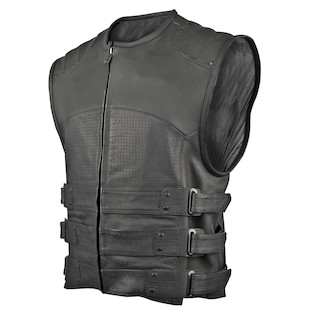 Speed and Strength Tough as Nails Leather Vest (Color: Black / Size: LG) 838945