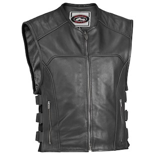 River Road Ruffian Perforated Leather Vest (Color: Black / Size: LG) 142050