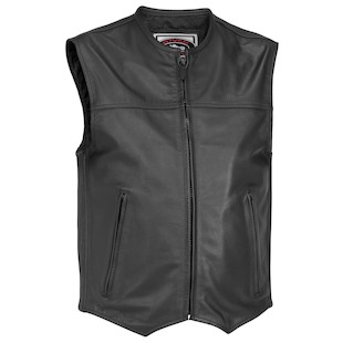 River Road Brute Leather Vest (Color: Black / Size: 3XL) 847168