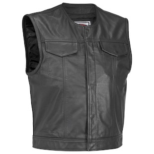 River Road Vandal Leather Vest (Color: Black / Size: 2XL) 142051