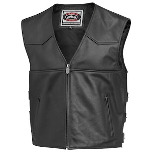 River Road Plains Leather Vest (Color: Black / Size: 46) 932273