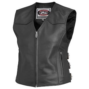 River Road Plains Women's Leather Vest (Color: Black / Size: 3XL) 932247