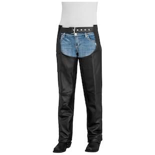 River Road Plains Women's Leather Chaps (Color: Black / Size: 10) 932249