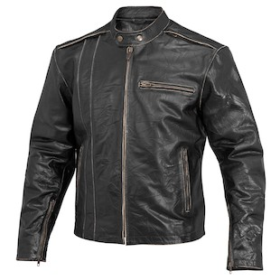 River Road Petro Distressed Leather Jacket (Color: Black / Size: 40) 932464