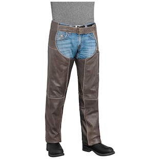 River Road Drifter Leather Chaps (Color: Brown / Size: LG) 932355