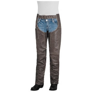 River Road Drifter Women's Leather Chaps (Color: Brown / Size: 18) 932350