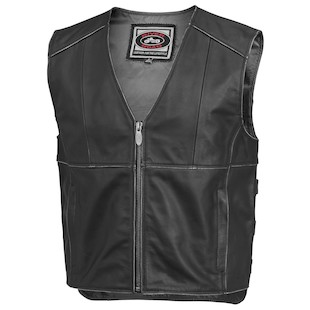 River Road Rambler Leather Vest (Color: Black / Size: 42) 932373