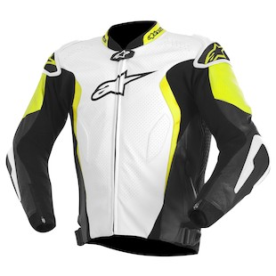 Alpinestars GP Tech Leather Jacket (Color: White/Black/Yellow / Size: 54) 973198