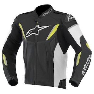 Alpinestars GP-R Leather Jacket (Color: Black/White/Yellow / Size: 56) 973223