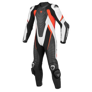 Dainese Aero EVO C2 Race Suit [Size 52 Only] (Color: Black/White/Fluo Red / Size: 52) 990401