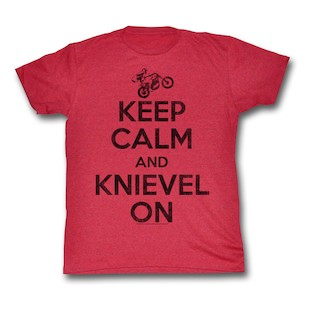 Evel Knievel Keep Calm T-Shirt (Color: Cherry / Size: 2XL) 997346