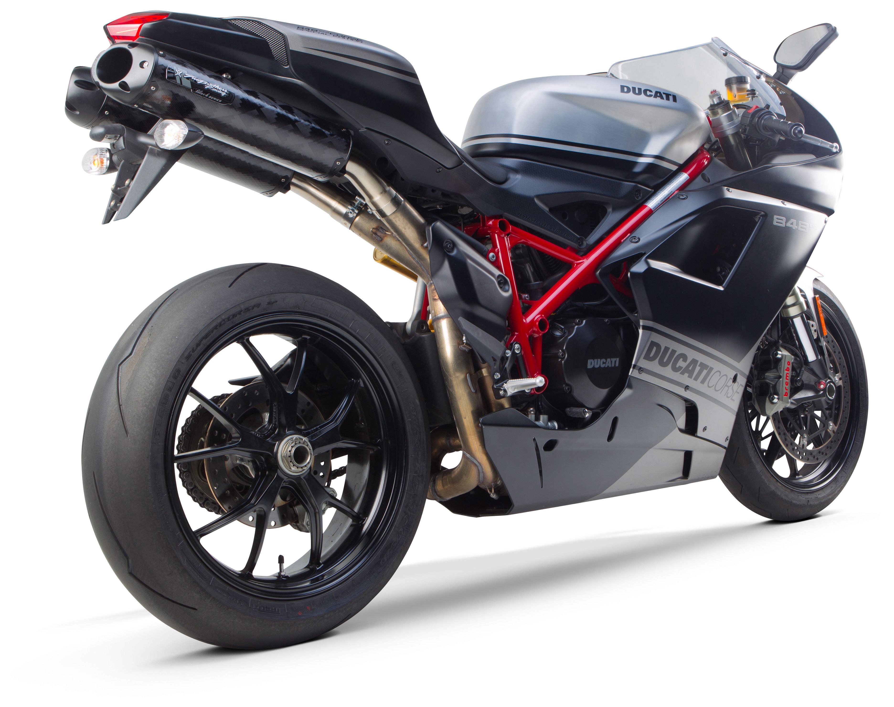 Two brothers m2 black series slip on exhaust ducati 848 1098 1198 cycle gear