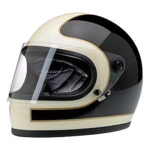 Biltwell Gringo S Tracker Limited Edition Helmet (Color: Black/White/Gold / Size: XS) 1077596