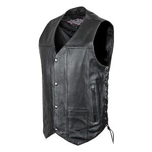 Street & Steel 2nd Amendment Leather Vest (Color: Black / Size: LG) 1136770