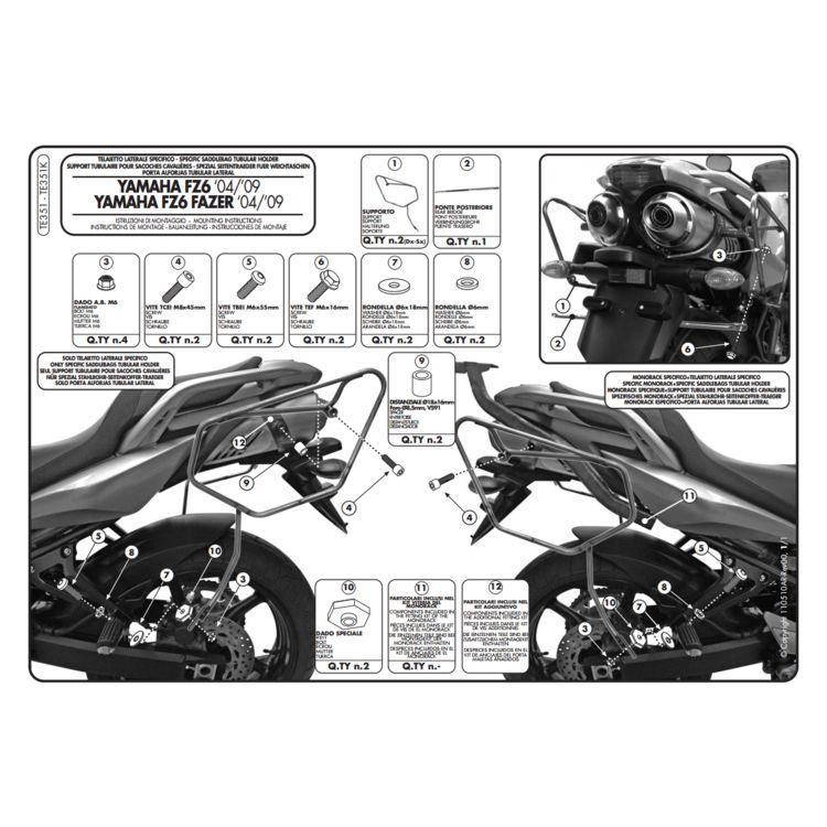 Givi TE351 Easylock Saddlebag Supports Yamaha FZ6 2007-2010