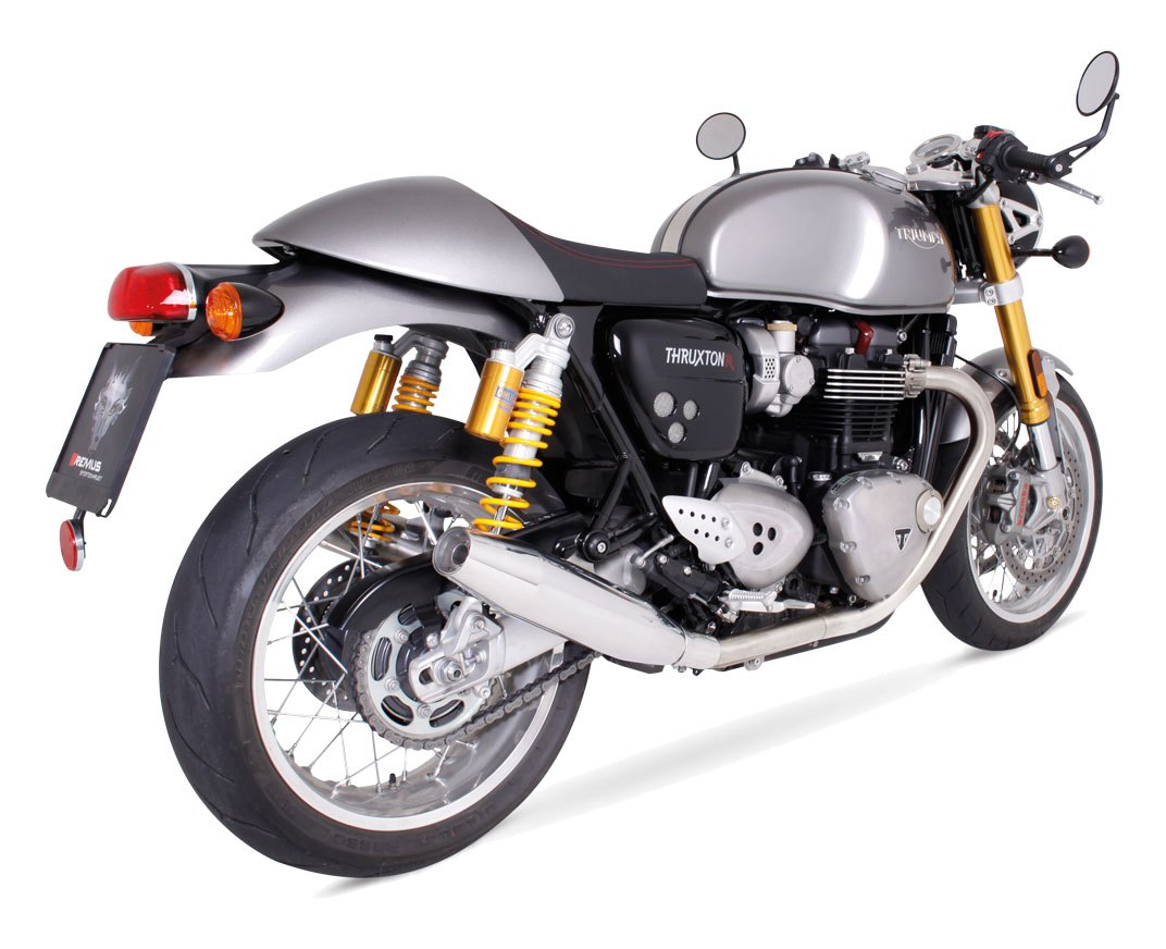 remus custom tapered slip on exhaust triumph thruxton 1200 r 2016 2017 cycle gear. Black Bedroom Furniture Sets. Home Design Ideas