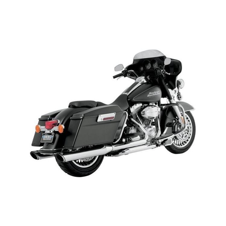 "Vance & Hines 4"" Round Twin Slash Slip-On Mufflers For Harley"