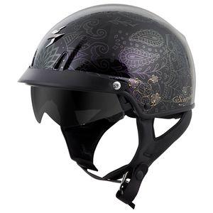 DOT FLY RACING .357 HALF MOTORCYCLE STREET HELMET BLACK PINK FLAMES SUN SHIELD