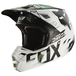 Fox Racing V2 Union SE Helmet (Color: White/Black/Green / Size: XL) 1179632