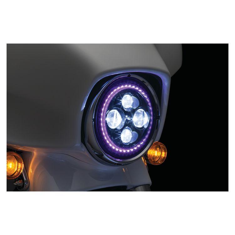 "Kuryakyn Orbit Prism 7"" LED Bluetooth Color Halo Headlight For Harley 1994-2018"