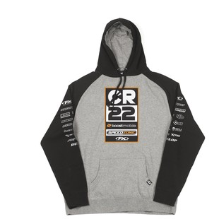 Factory Effex CR22 Team V2 Raglan Hoody (Color: Gunmetal/Heather/Black / Size: XL) 1288204