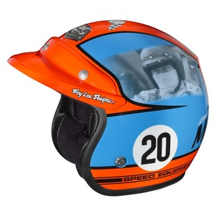 Troy Lee Open Face McQueen Helmet (Color: Blue/Orange / Size: LG) 1289987