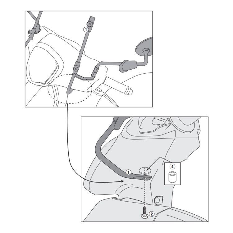 Givi A6102A Windshield Fit Kit KYMCO Like 50 / 125 / 200i