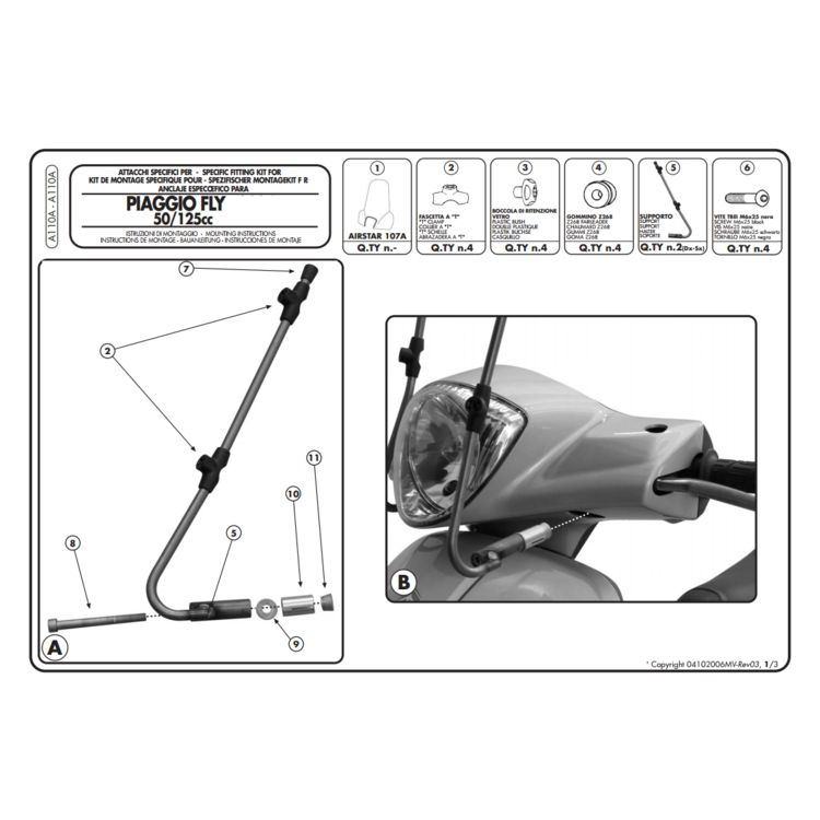 Givi A110A Windshield Fit Kit Piaggio Fly 2004-2016