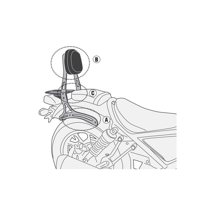 Givi TS1160B Sissybar / Luggage Rack Honda Rebel 500 2017-2019