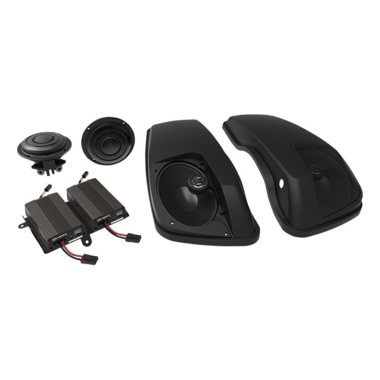Wild Boar By Hogtunes Front Speakers, Lids & 600 Watt Amp Kit For Harley Touring 2014-2019