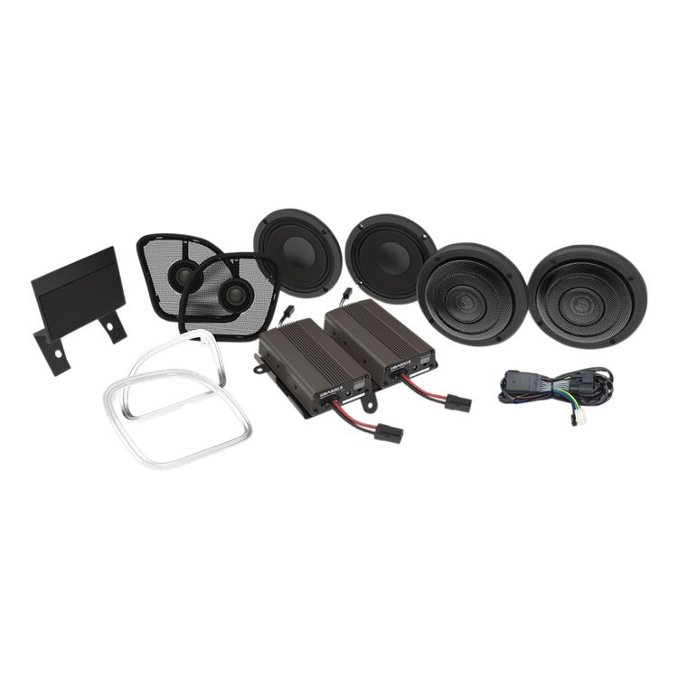 Wild Boar By Hogtunes Front & Rear Speakers & 600 Watt Amp Kit For Harley Road Glide 2016-2021