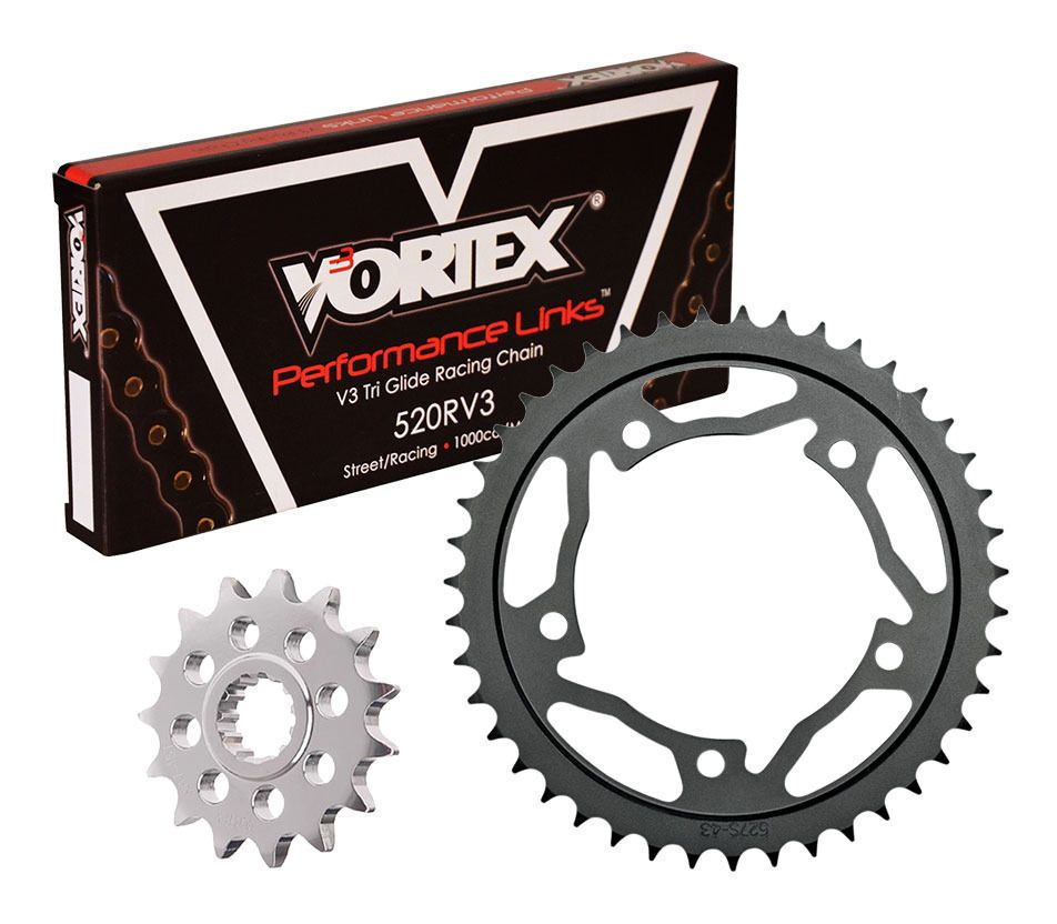 Vortex V3 WSS Warranty Chain and Sprocket Kit Gold Anodized Chain for Yamaha YZF-R1 1998-2003