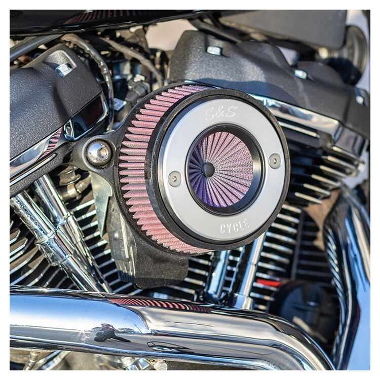 S&S Brushed Ring Air Stinger Air Cleaner Kit For Harley Milwaukee-Eight 2017-2021