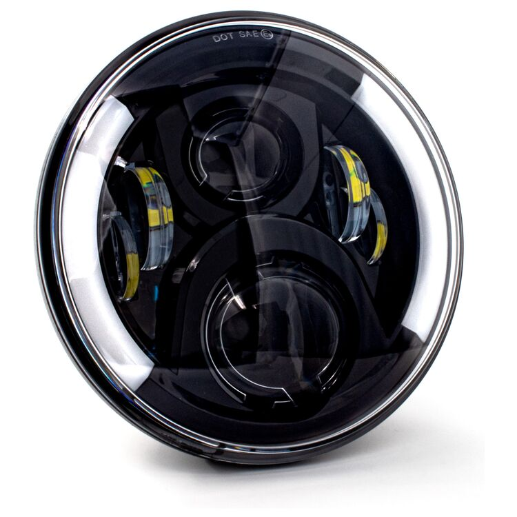 """Letric Lighting Co. Deluxe 7"""" LED Wide-Array Headlamp w/ Switchback Turn Signals For Harley 1994-2021"""