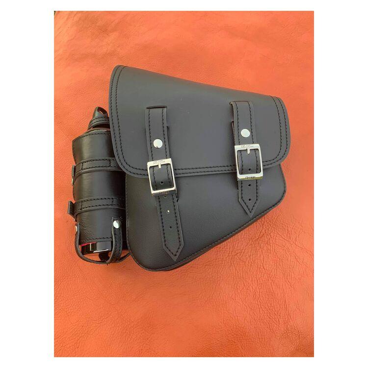 La Rosa Black Vinyl Saddle Bag with Fuel Bottle For Harley Softail 1986-2021
