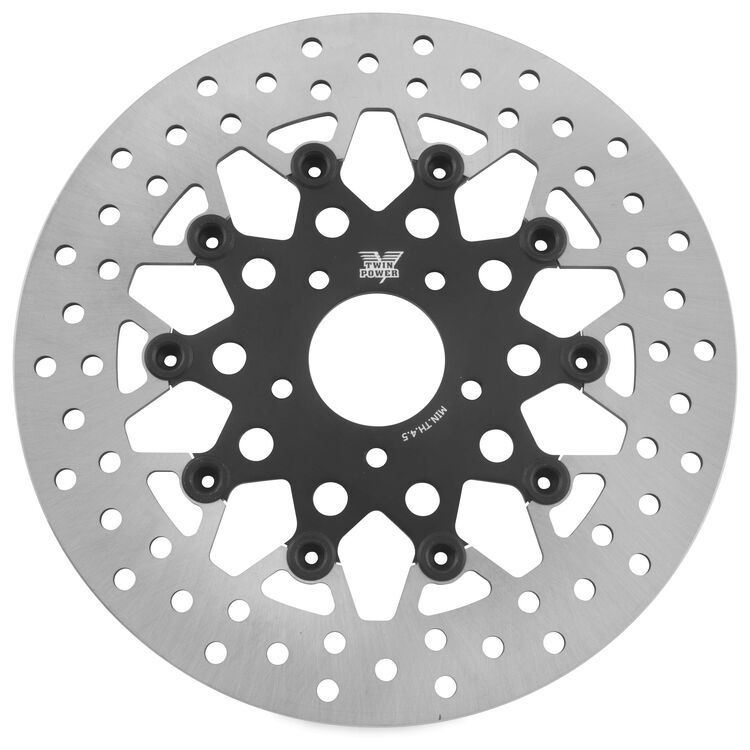 Twin Power Black Floating Mesh Front Rotor For Harley 2006-2021