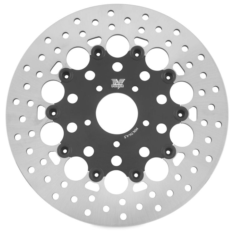 Twin Power Black Floating Hole Front Rotor For Harley